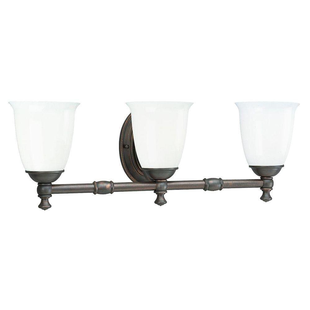 Etonnant Progress Lighting Victorian Collection 3 Light Venetian Bronze Vanity Light  With White Opal Glass Shades