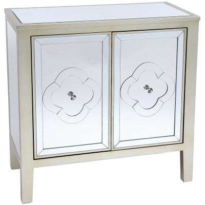 32 in. Champagne Wood Mirror Cabinet