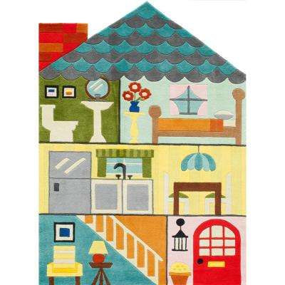 Lil Mo Whimsy Home Sweet Home Multi 4 ft. x 6 ft. Indoor Kids Area Rug