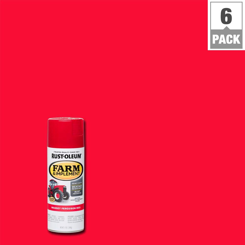 Rust Oleum 12 Oz Farm And Implement Massey Ferguson Red Spray Paint 6 Pack 280134 The Home