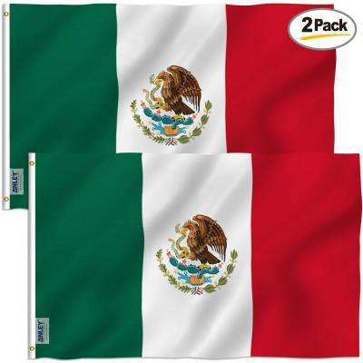 Fly Breeze 3 ft. x 5 ft. Polyester Mexico Flag 2-Sided Flags Banner with Brass Grommets and Canvas Header (2-Pack)