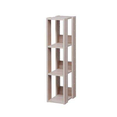 Mado Light Brown 3-Shelf Slim Open Wood Shelving Unit