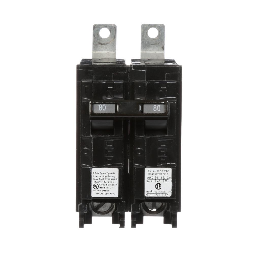 siemens 80 amp 2 pole type hbl 65 ka circuit breaker b280hh the home depot. Black Bedroom Furniture Sets. Home Design Ideas