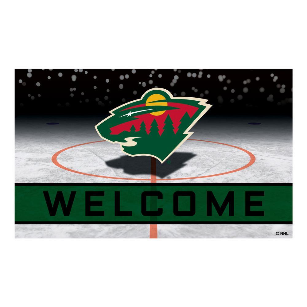 NHL - Minnesota Wild 18 in. x 30 in. Rubber Door Mat