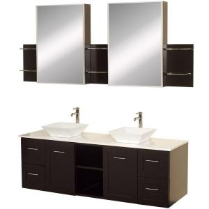 Wyndham Collection Avara 60 inch Vanity in Espresso with Double Basin Stone Vanity Top in White and Medicine Cabinets by Wyndham Collection