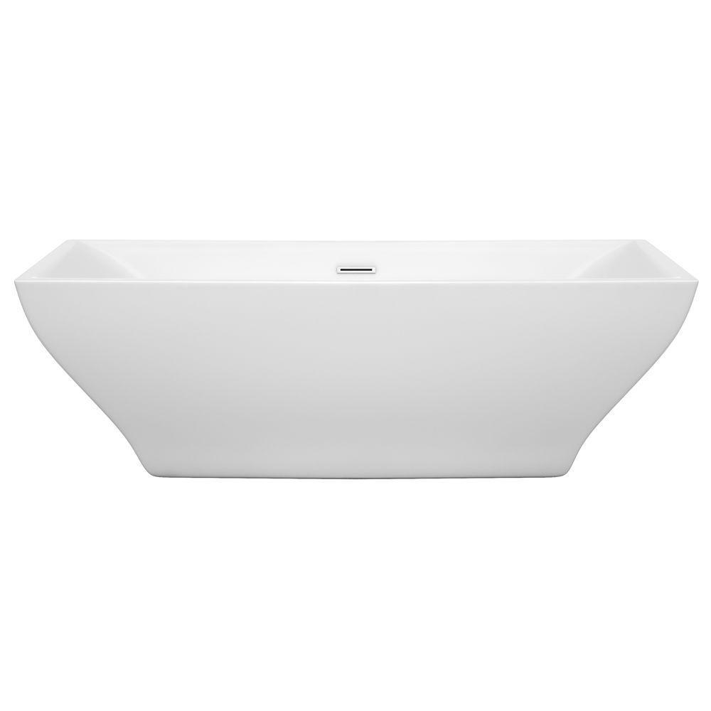 rectangular freestanding soaking tub. Acrylic Flatbottom Center Drain Soaking Tub In White With Polished Wyndham Collection Maryam 70 75