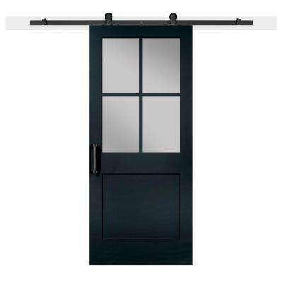 36 in. x 84 in. Knight 1-Panel Privacy Half-Lite Satin Solid-Core MDF Barn Door with Sliding Door Hardware Kit