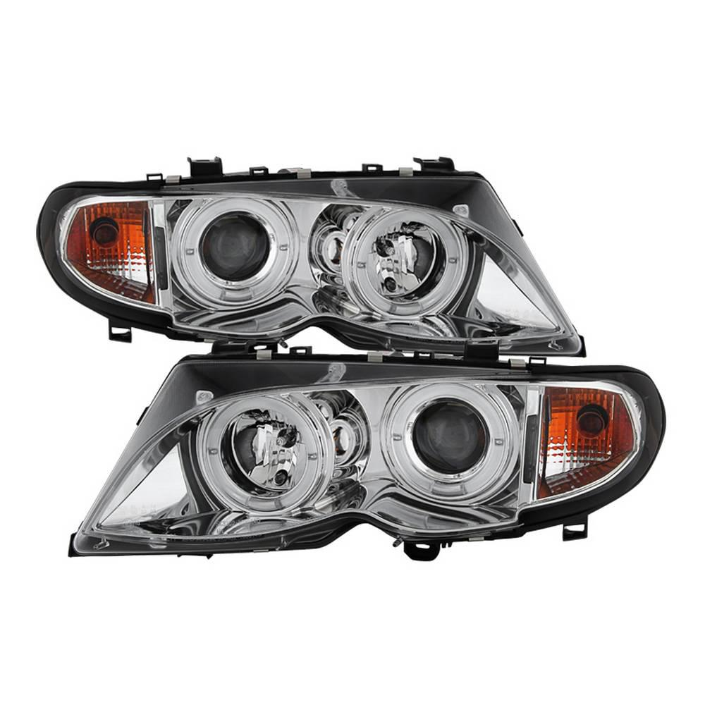 Spyder Auto BMW E46 3-Series 02-05 4DR Projector Headlights 1PC - LED Halo  - Chrome - High H1 (Included) - Low H7 (Included)
