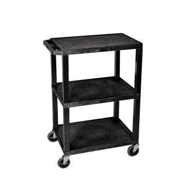 AV 18 in. W x 24 in. L 3 - Shelf Utility Cart, Black