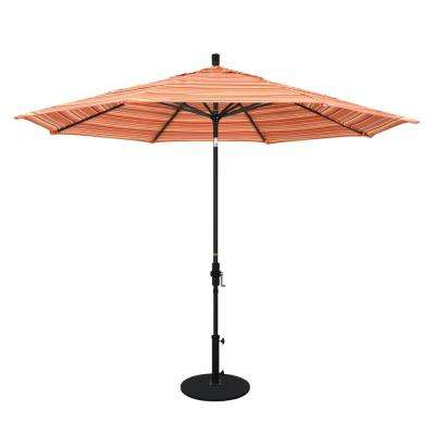 11 ft. Black Aluminum Pole Market Aluminum Ribs Crank Lift Outdoor Patio Umbrella in Dolce Mango Sunbrella