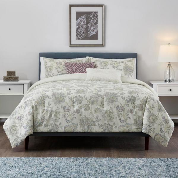 StyleWell Brianna 5-Piece Lavender Seed Floral Full/Queen Comforter Set