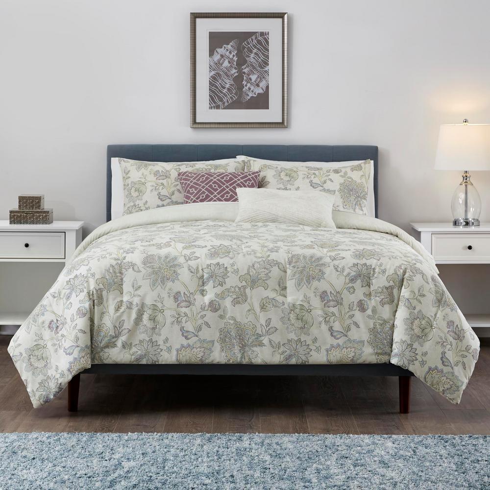 Brianna 5-Piece Lavender Seed Floral King Comforter Set