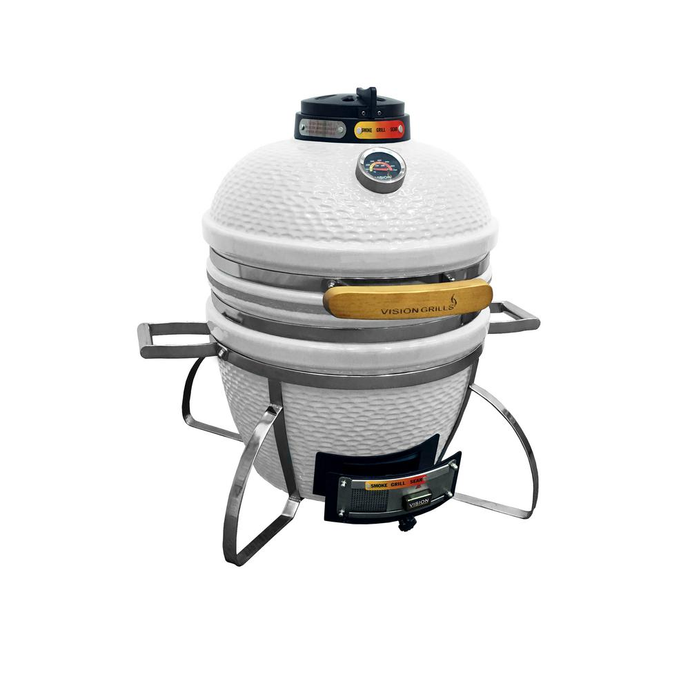 Vision Grills Cadet Kamado Charcoal Grill in White
