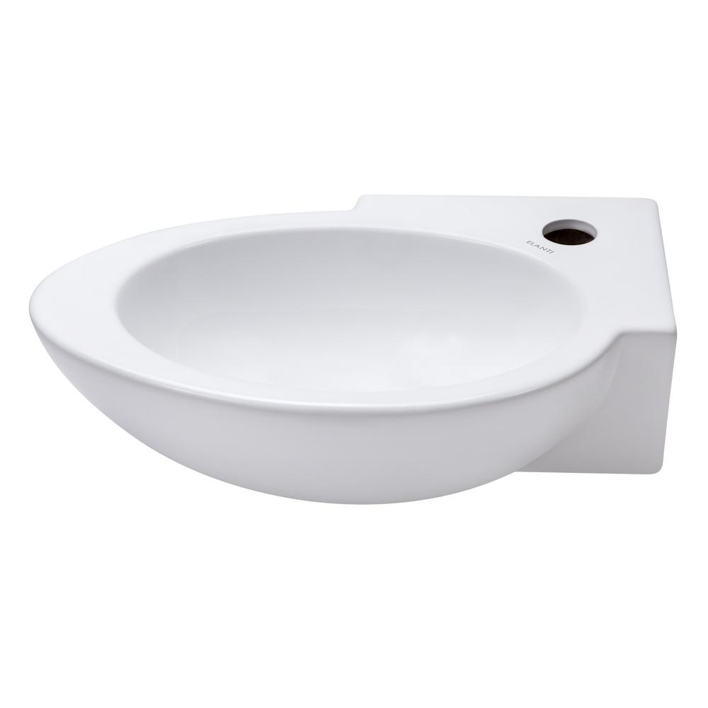 Left-Facing Oval Basin Vessel Sink in White