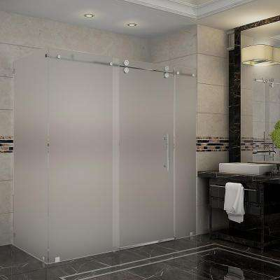Langham 72 in. x 33.8125 in. x 75 in. Completely Frameless Sliding Shower Enclosure, Frosted Glass in Chrome
