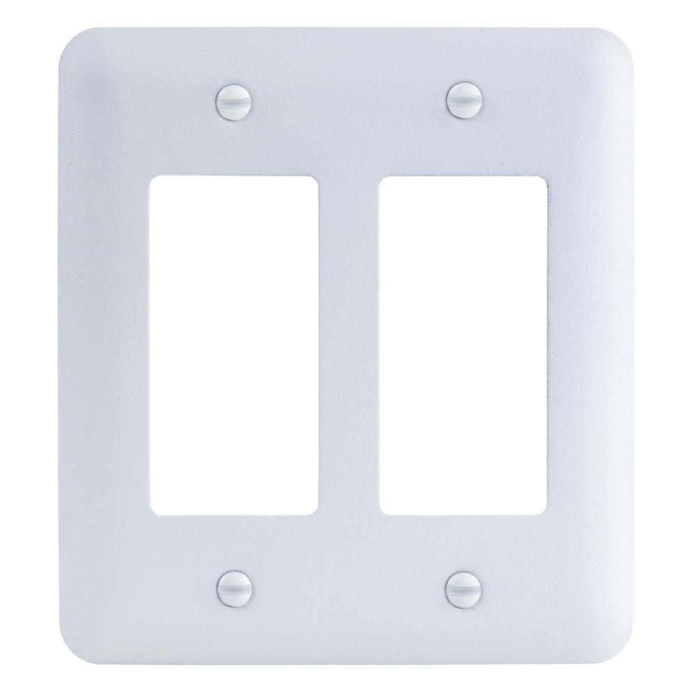 2-Gang Decorator Maxi Metal Wall Plate, White Textured