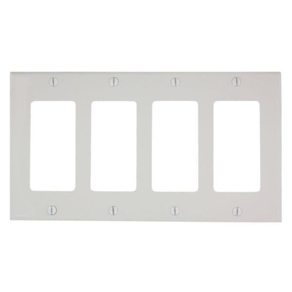 White 4-Gang Wall Plate (1-Pack)