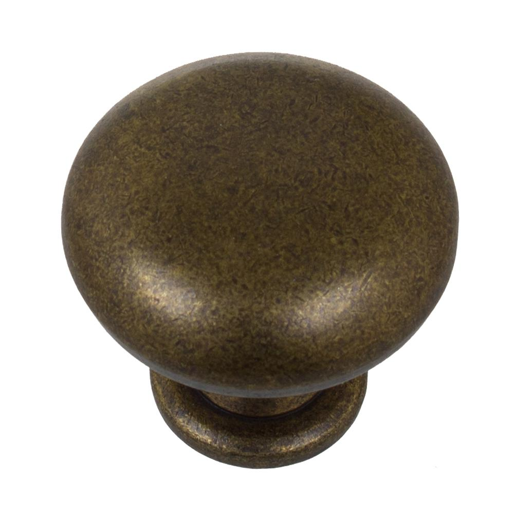Gliderite 1 1 8 in dia antique brass classic round cabinet knob 10 pack 5411 ab 10 the home - Antique brass cabinet knobs ...