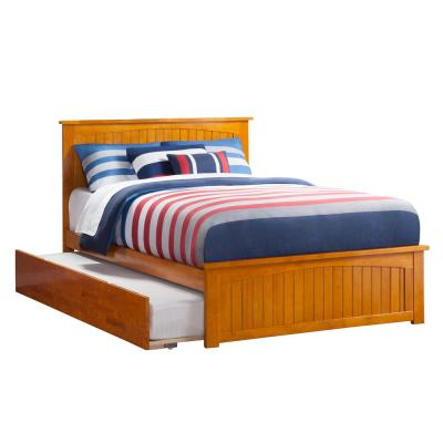 Nantucket Caramel Full Platform Bed with Matching Foot Board and Twin Size Urban Trundle Bed