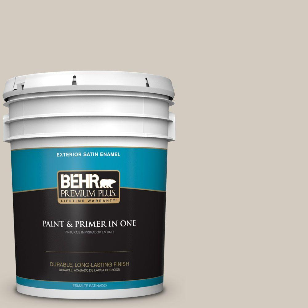 BEHR Premium Plus 5-gal. #N220-2 Ashen Tan Satin Enamel Exterior Paint