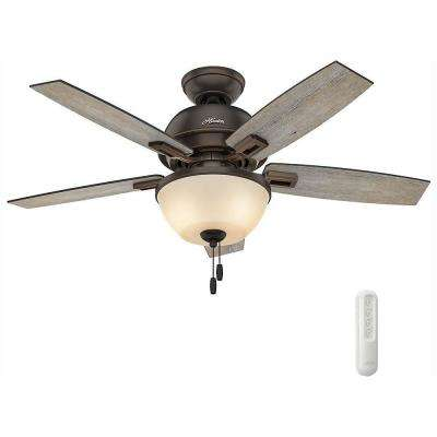 Donegan 44 in. LED Bowl Indoor Onyx Bengal Bronze Ceiling Fan bundled with Handheld Remote Control
