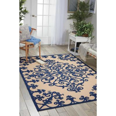 Aloha Navy 8 ft. x 11 ft. Medallion Modern Indoor/Outdoor Area Rug