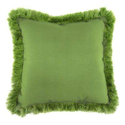 Sunbrella Canvas Gingko Square Outdoor Throw Pillow with Gingko Fringe