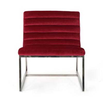 Raoul Ruby and Steel Velvet Accent Chair