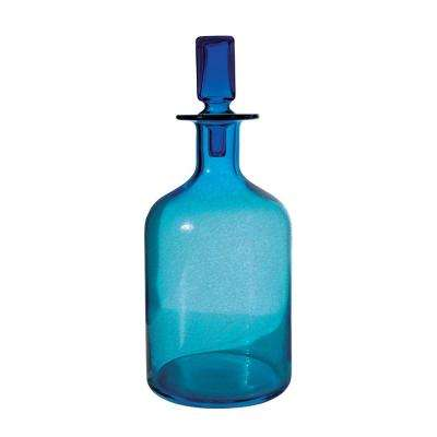 7 in. x 16 in. Glass Decorative Decanter in Pool Blue