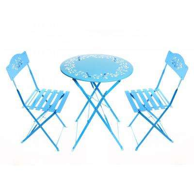 3-Piece Floral Outdoor Bistro Set, Blue