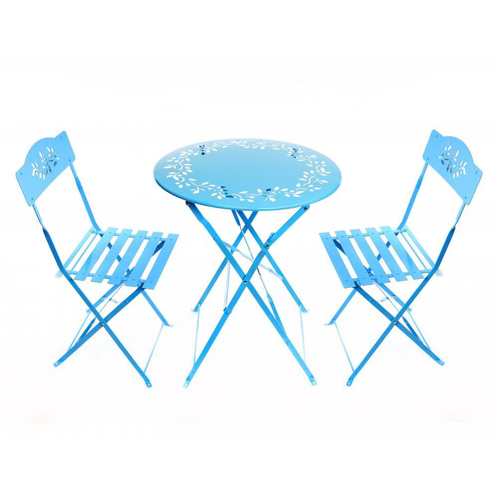 3-Piece Floral Outdoor Bistro Set, Blue