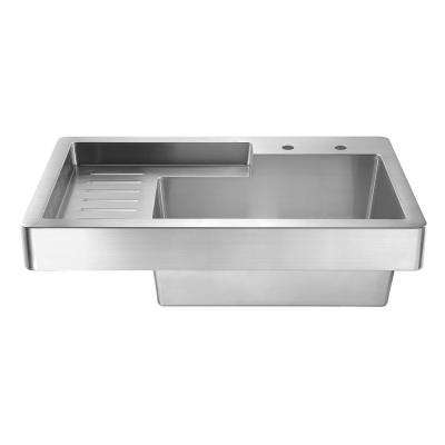 Pearlhaus All-in-One Drop-In Stainless Steel 33 in. 2-Hole Single Bowl Kitchen Sink in Brushed Stainless Steel