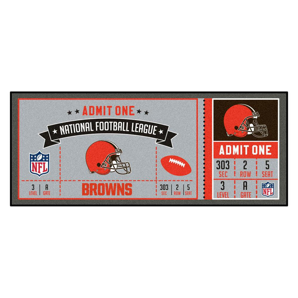 1d2f2253 FANMATS NFL - Cleveland Browns 30 in. x 72 in. Indoor Ticket Runner Rug