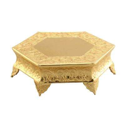 Hexagonal 16 in. Gold Metal Wedding Cake Stand