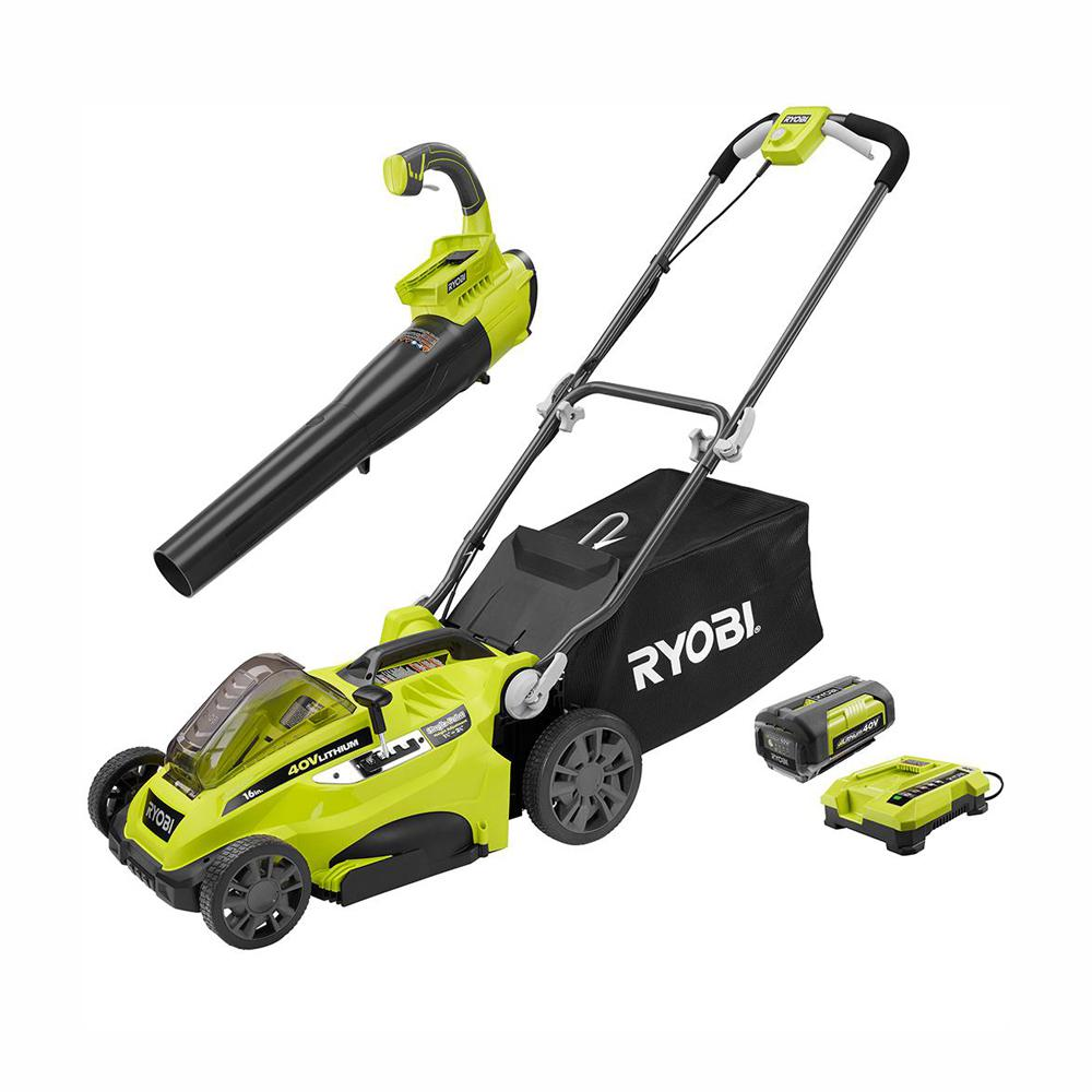 RYOBI 16 in. 40-Volt Lithium-Ion Cordless Lawn Mower with Jet Fan Blower Combo Kit - 4.0 Ah Battery and Charger Included