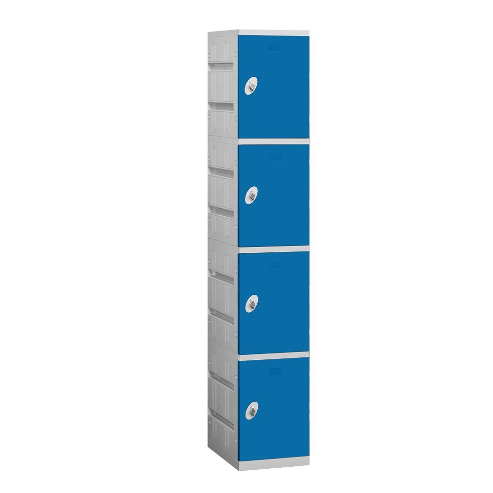 Salsbury Industries 94000 Series 12.75 in. W x 74 in. H x 18 in. D 4-Tier Plastic Lockers Assembled in Blue
