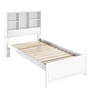 Caspian White Twin Bookcase Bed With Nightstand