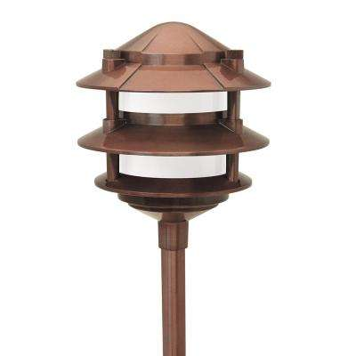 Low Voltage Incandescent 11-Watt Copper Outdoor Landscape Cast Aluminum 3-Tier Path Light