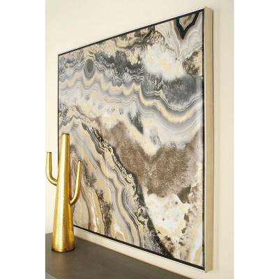 40 in. Marble-Inspired Framed Canvas Wall Art
