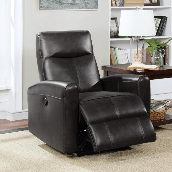 AC Pacific Elsa Collection Black Contemporary Leather Tufted Upholstered Living