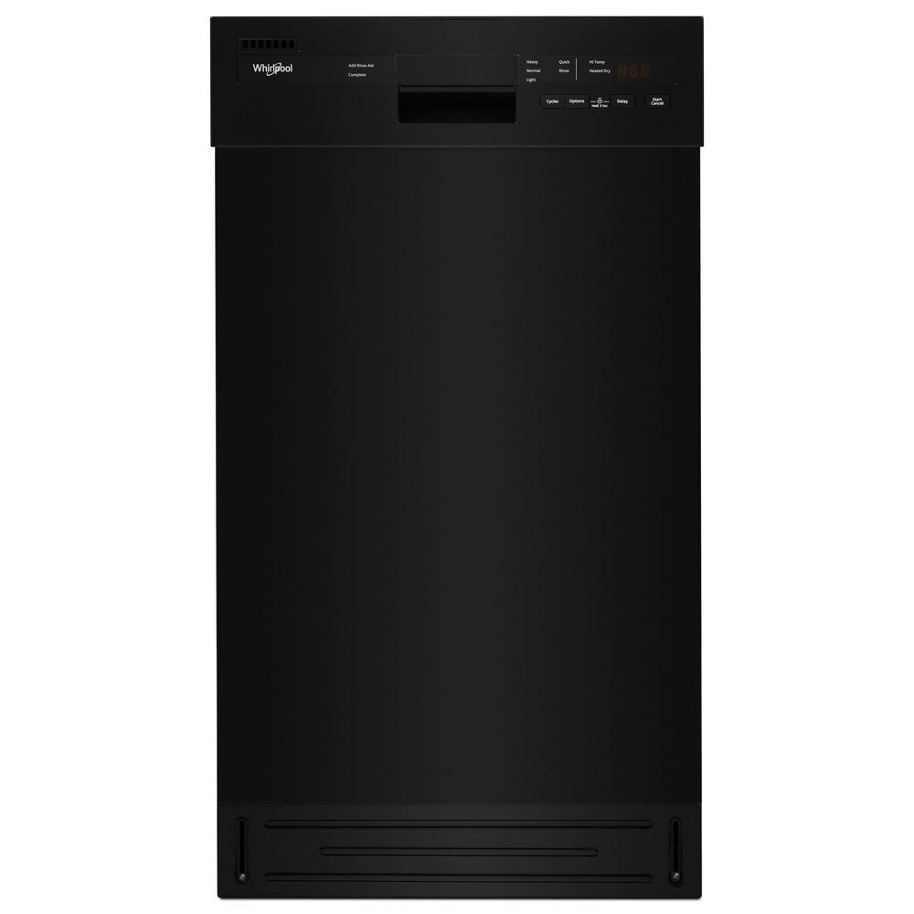 Whirlpool 18 in. Front Control Dishwasher in Black with Stainless Steel Tub, 50 dBA This small dishwasher delivers the clean you need, even in smaller spaces, thanks to a spray arm in each rack. The cycle memory feature remembers the last cycle you ran and starts it with the push of a button. Plus, this small dishwasher with stainless steel tub is both ADA compliant and ENERGY STAR certified. Color: Black.