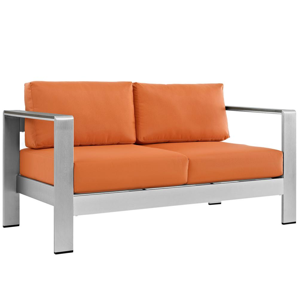 MODWAY Shore Aluminum Patio Outdoor Loveseat in Silver with Orange Cushions