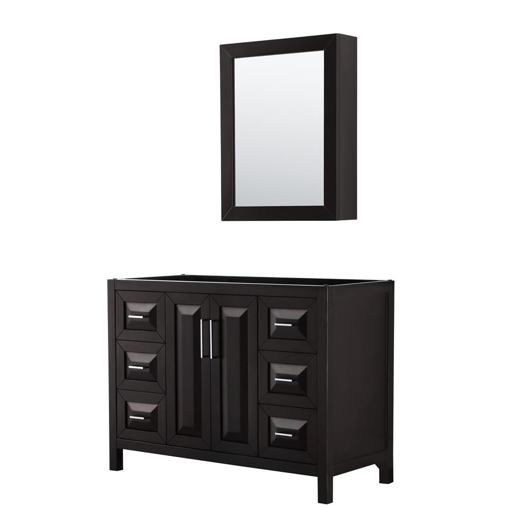 Daria 47 in. Single Bathroom Vanity Cabinet Only with Medicine Cabinet in Dark Espresso