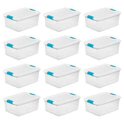 15 Qt. Stackable Latching Storage Box Container in Clear (12-Pack)