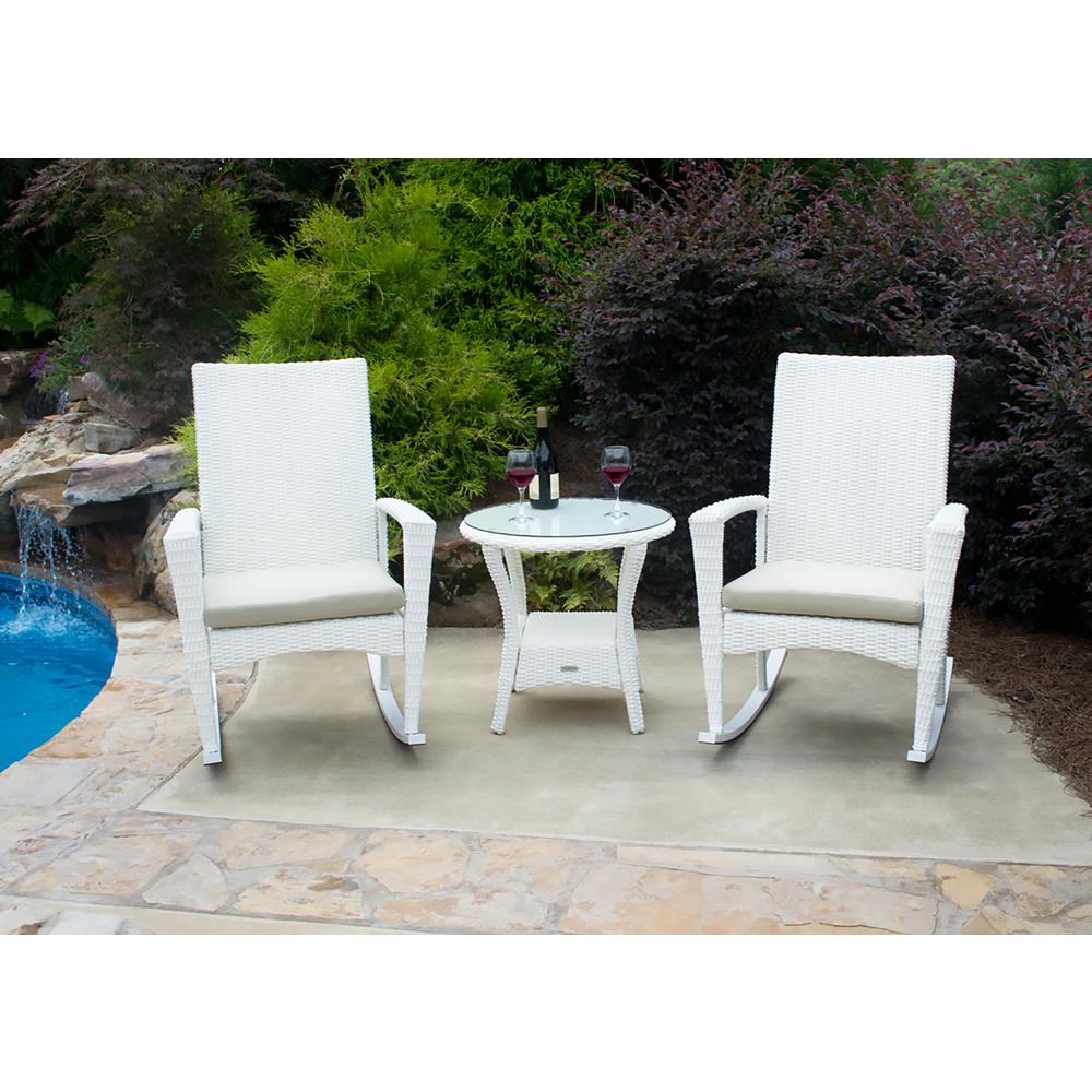 Bayview Magnolia 3-Piece Wicker Outdoor Rocking Chair Set with Tan Cushion