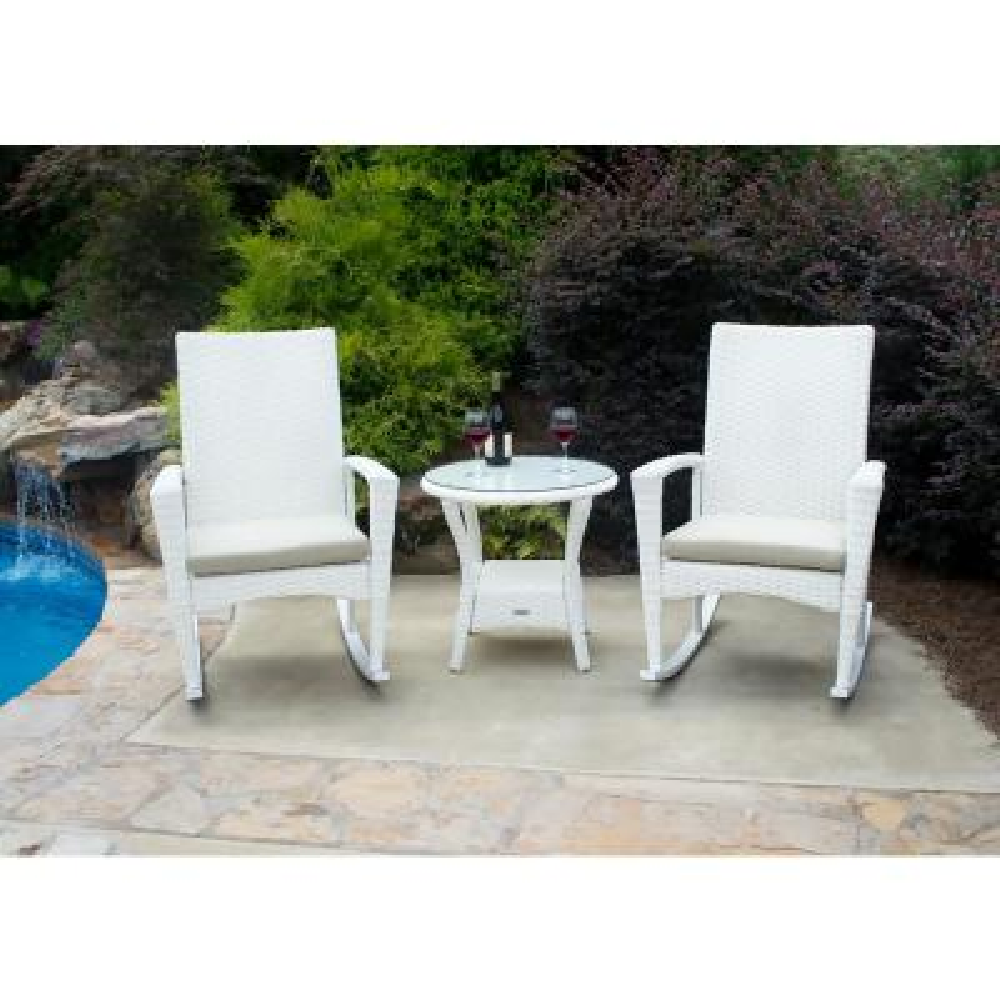 Tortuga Outdoor Bayview Magnolia 3-pc Wicker Outdoor Rocking Chair Set w/ Tan Cushion