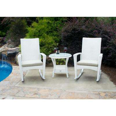 Bayview Magnolia 3 Piece Wicker Outdoor Rocking Chair Set With Tan Cushion