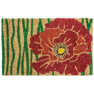 Red Bloom 18 in. x 30 in. Hand Woven Coconut Fiber Door Mat