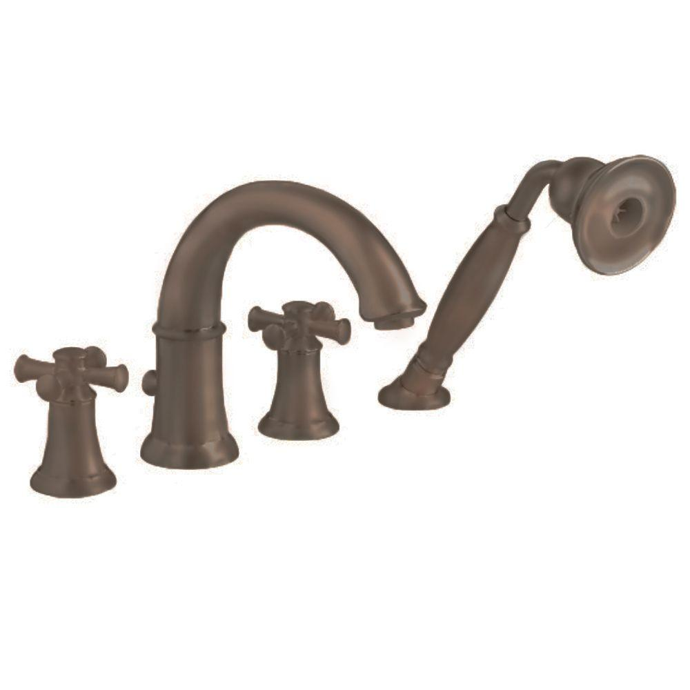Portsmouth Cross 2 Handle Deck Mount Roman Tub Faucet With Hand Shower In