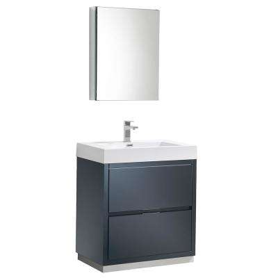 Valencia 30 in. W Vanity in Dark Slate Gray with Acrylic Vanity Top in White with White Basin and Medicine Cabinet